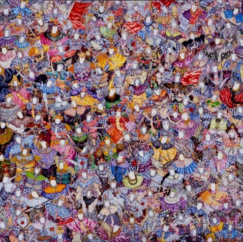 Le Supermarché des guerriers, huile sur toile, 120 x 120 cm, 2006